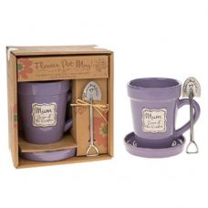 """MUM Queen of the Garden"" Plant Flower Pot shaped mug and saucer + spade spoon"
